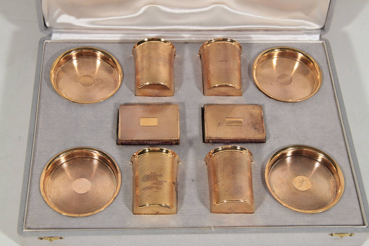HERMES Vintage SMOKING SET Ashtrays Cigarette Holders Matchboxes w/ BOX In Good Condition For Sale In Rome, IT