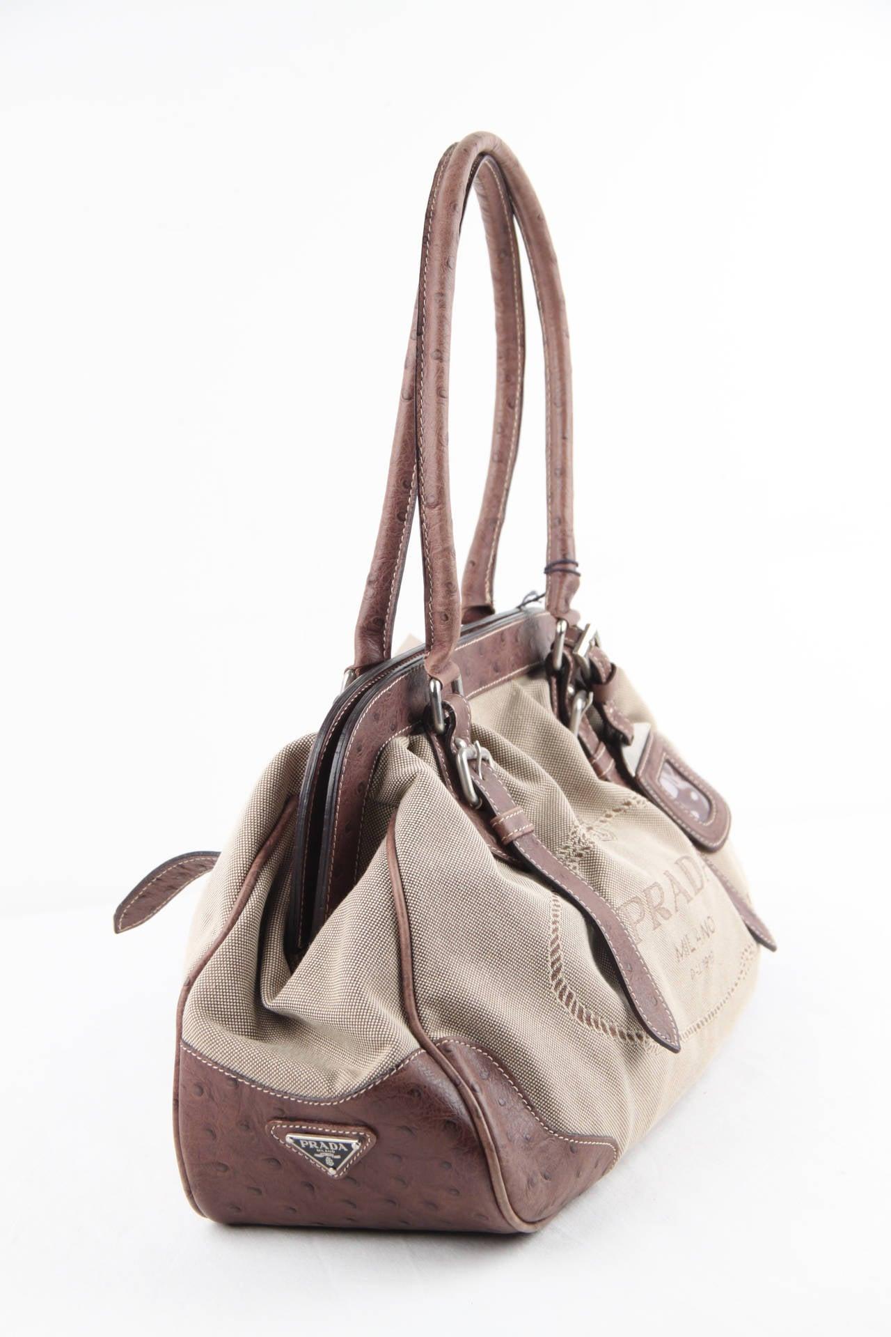 Prada Beige Jacquard Logo Fabric Handbag Doctor Bag W Ostrich Leather 2
