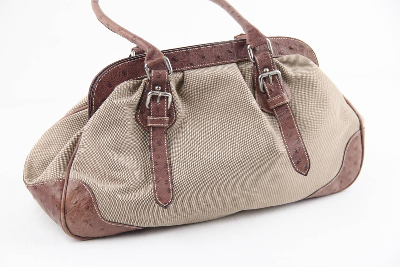 97459819c4c6 PRADA Beige JACQUARD LOGO Fabric HANDBAG Doctor Bag w  OSTRICH ...