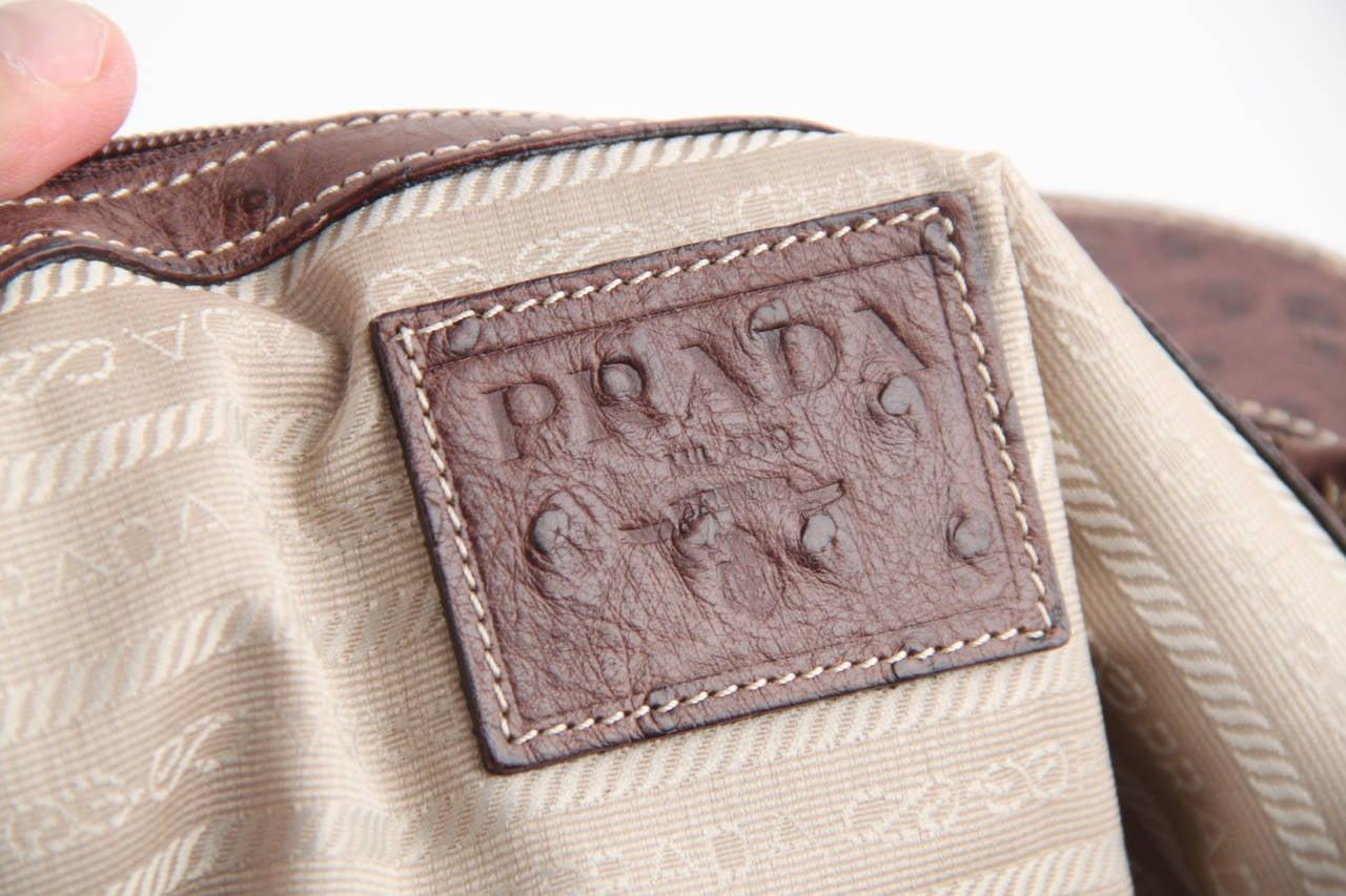 PRADA Beige JACQUARD LOGO Fabric HANDBAG Doctor Bag w/ OSTRICH ...
