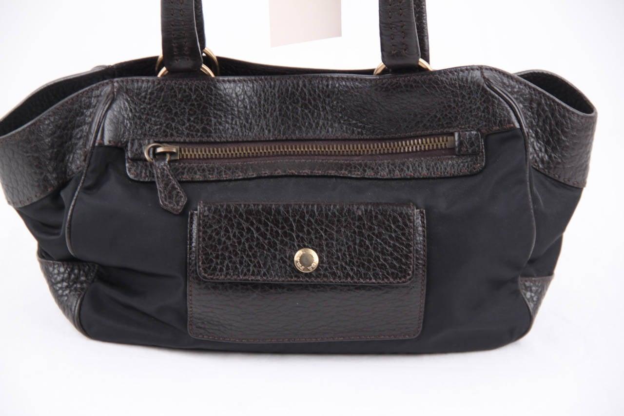 prada purse black - PRADA Black Canvas and Dark Brown Leather TOTE HANDBAG w/ Front ...