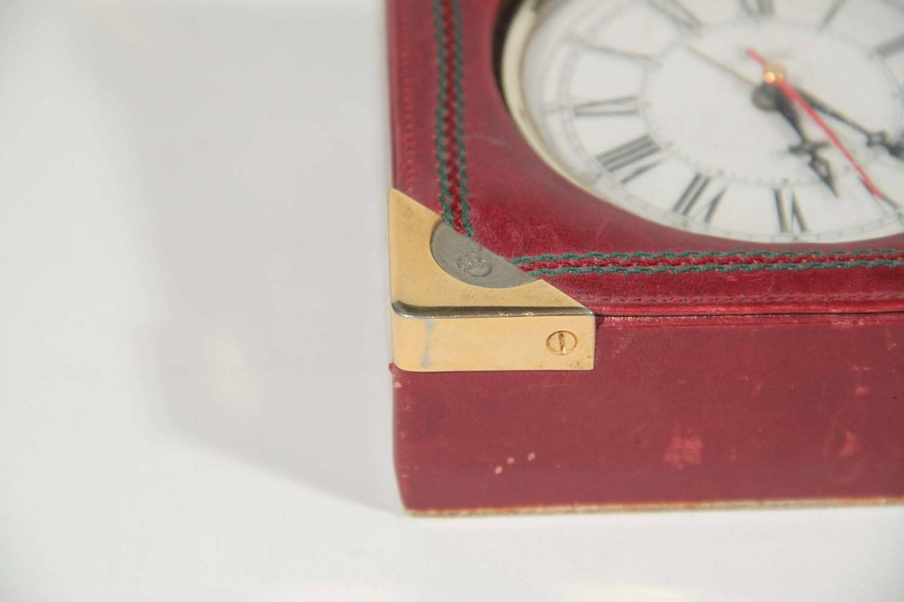 GUCCI Authentic VINTAGE Burgundy Leather DESK CLOCK WATCH w/ Stripes 3
