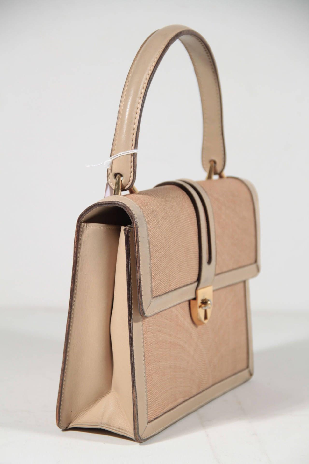 Gucci Italian Vintage Beige Tan Raffia And Leather Handbag