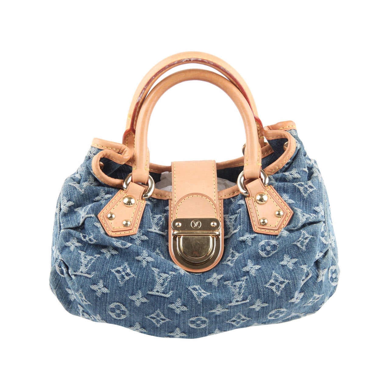 Louis Vuitton Blue Monogram Denim Pleaty Bag Handbag Purse