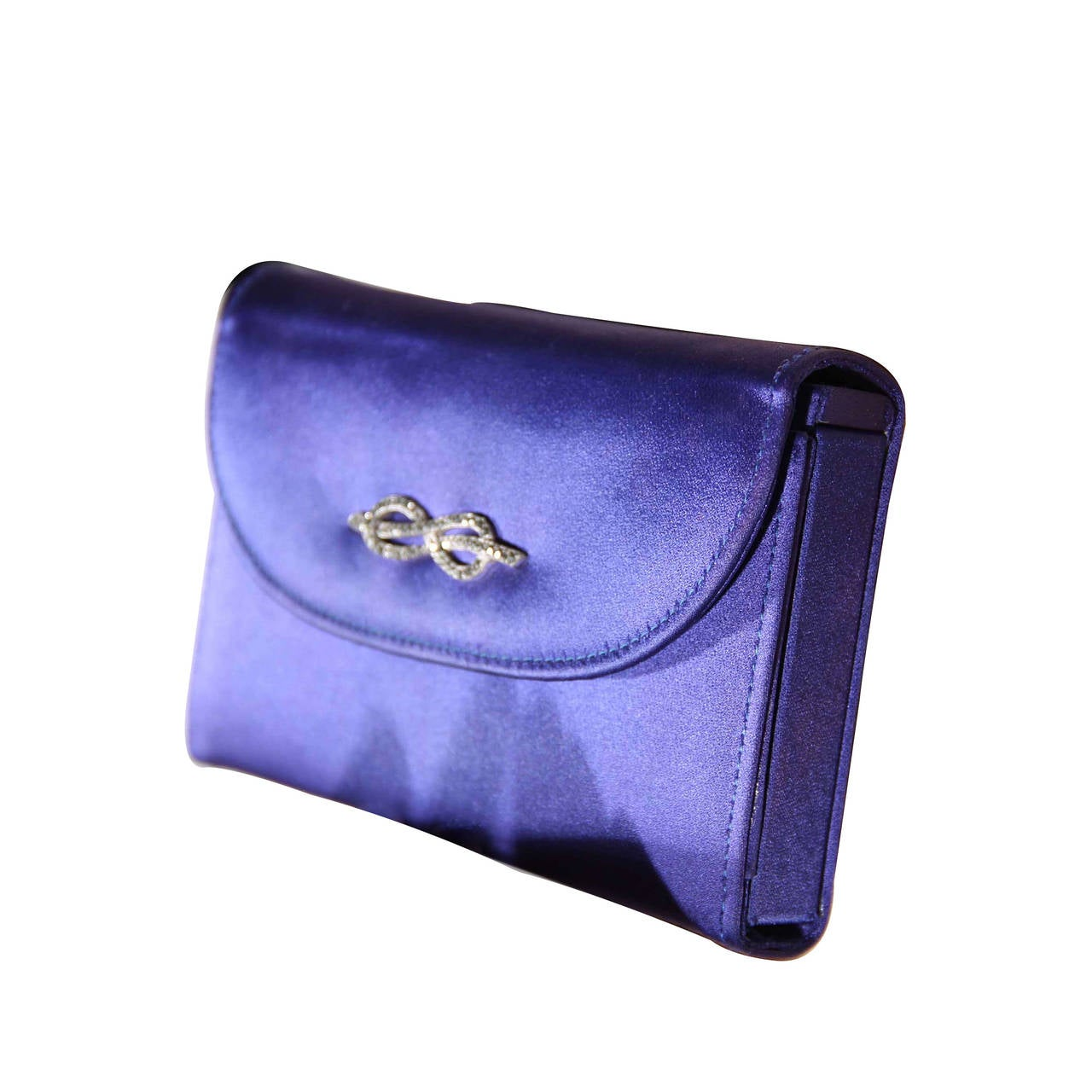 Gucci Italian Vintage Blue Satin Minaudiere Evening Bag