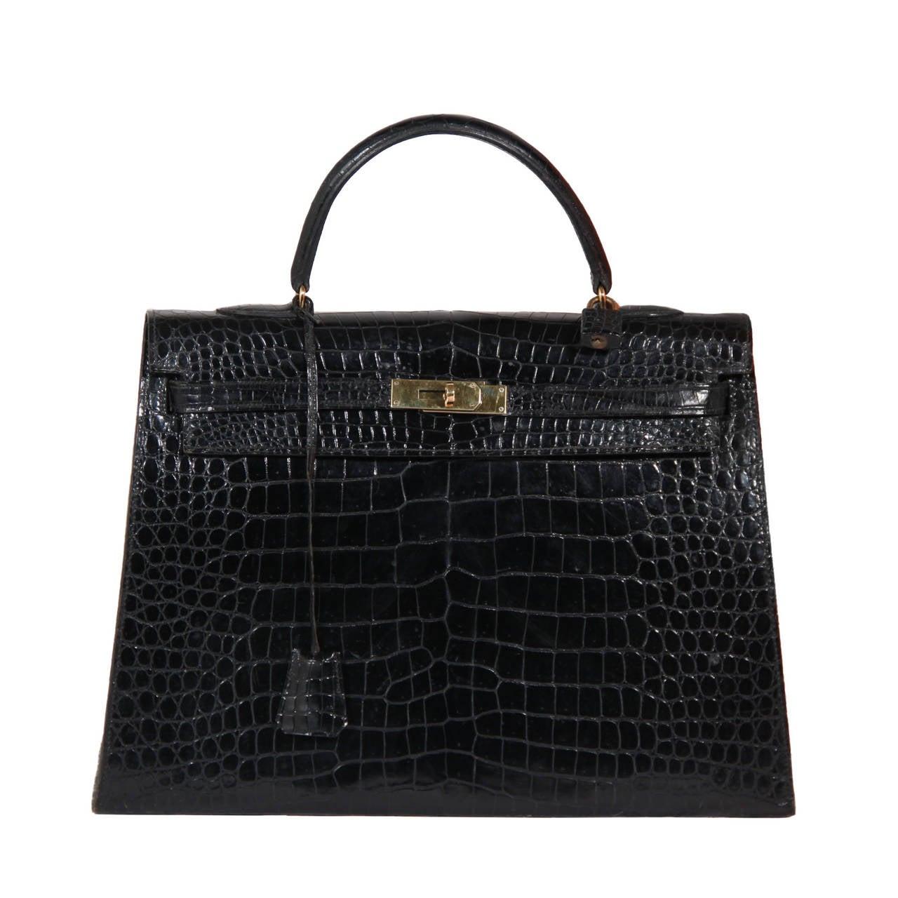 HERMES PARIS VINTAGE Black CROCODILE SKIN Leather KELLY BAG 35 ...