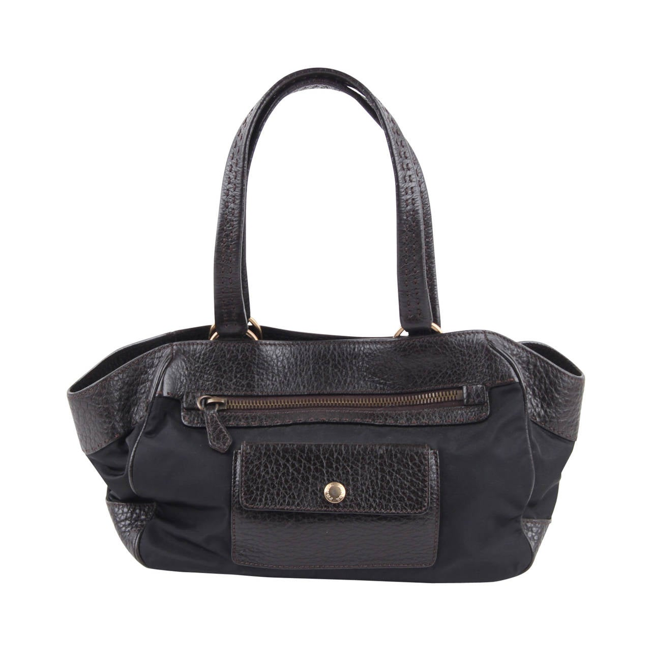 PRADA Black Canvas and Dark Brown Leather TOTE HANDBAG w/ Front ...