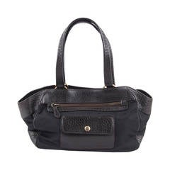 Prada Black Canvas and Dark Brown Leather Tote Handbag with Front Pockets