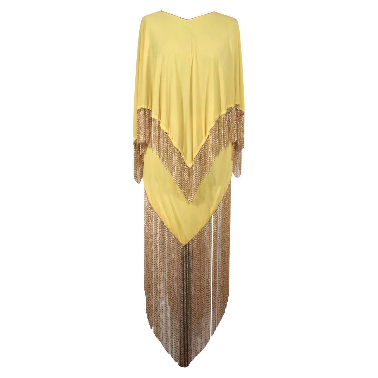 LORIS AZZARO Vintage 70s Yellow CAPE TOP & SKIRT SET Dress Long CHAIN FRINGES 1