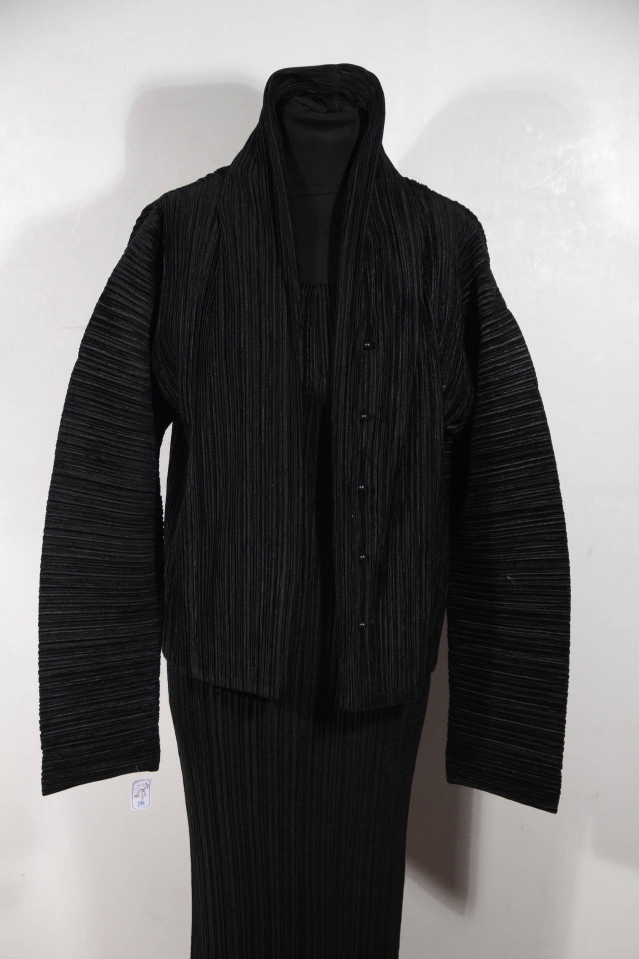 Issey Miyake Black Pleated Dress Suit Jacket And Maxi
