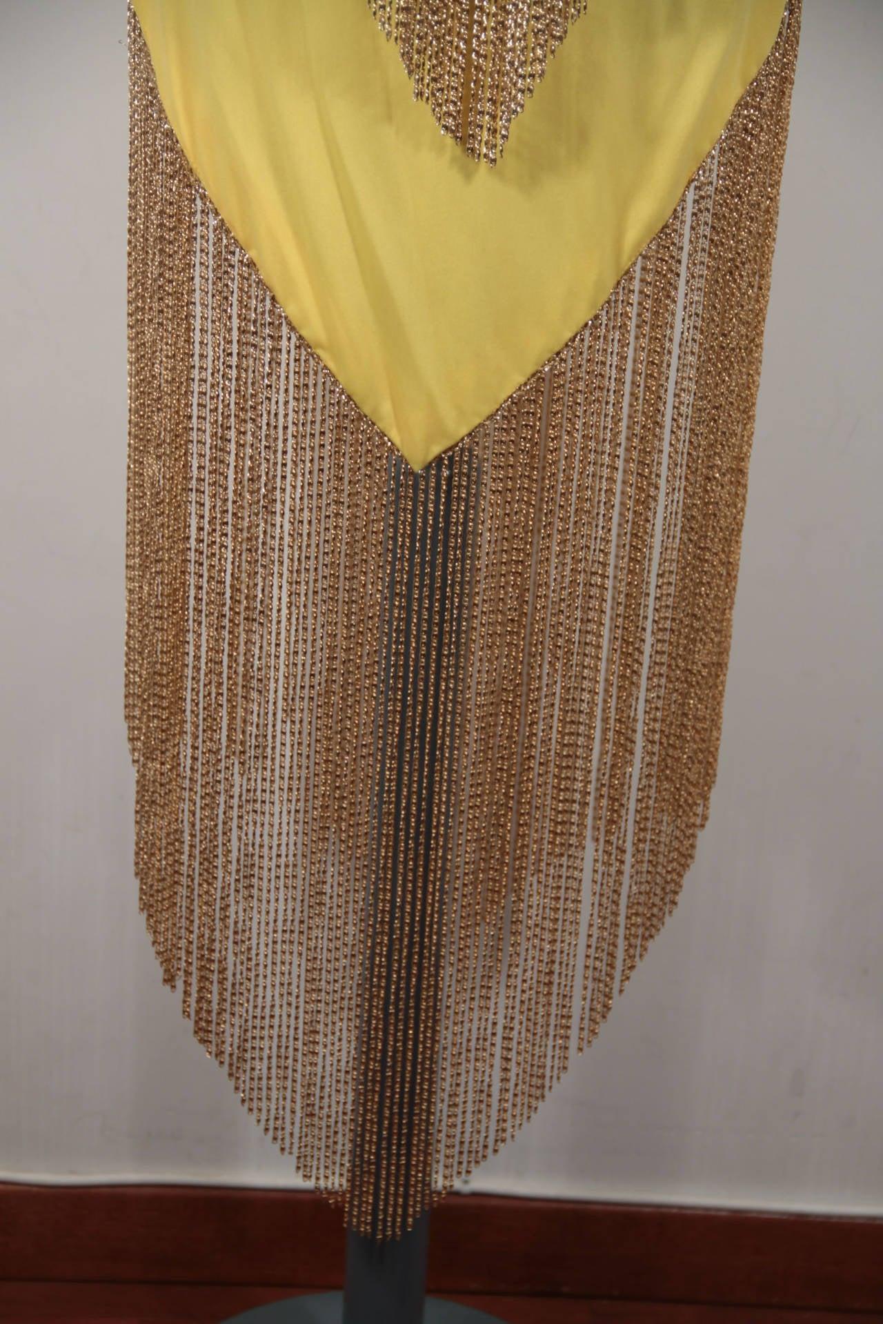 LORIS AZZARO Vintage 70s Yellow CAPE TOP & SKIRT SET Dress Long CHAIN FRINGES 6