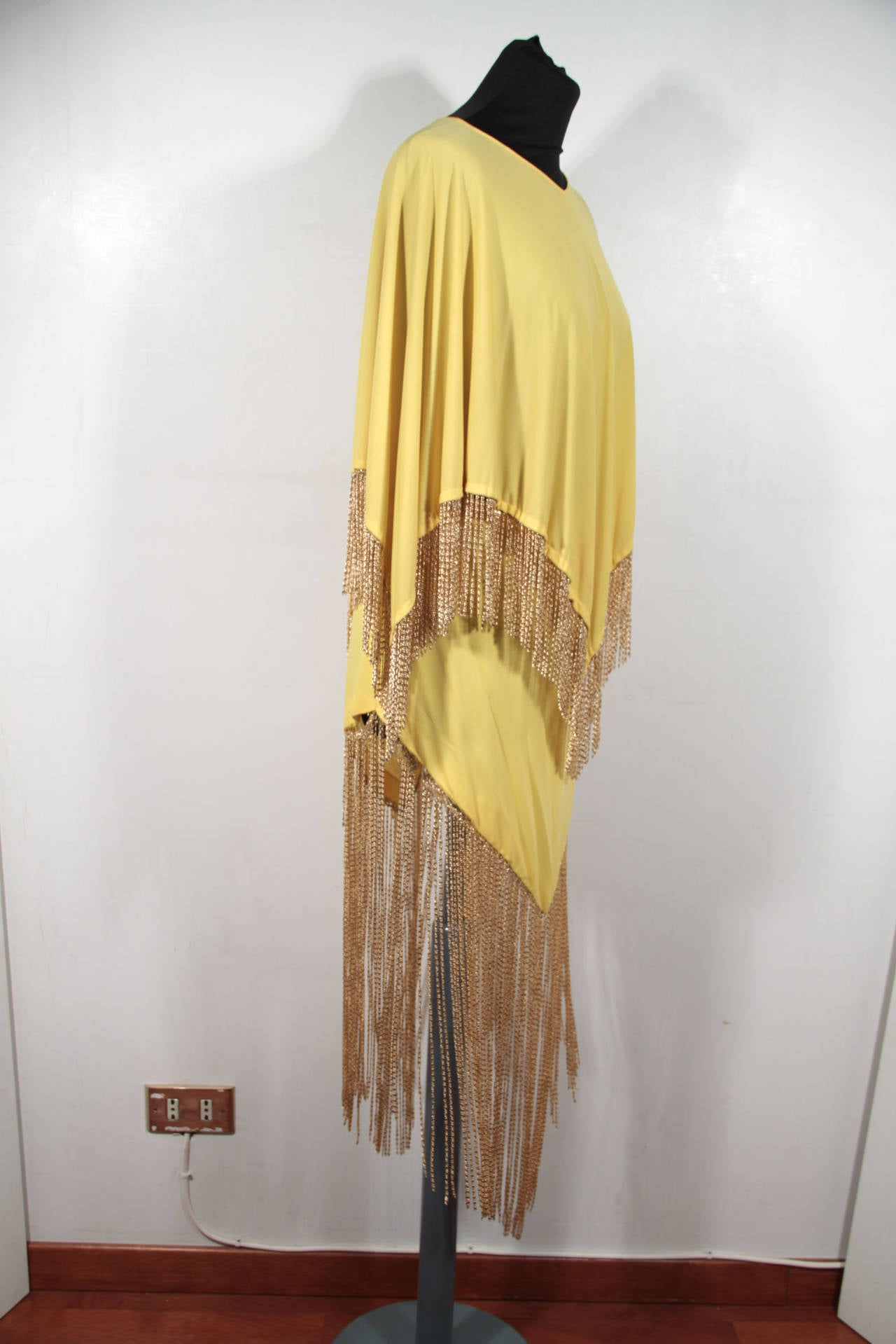 LORIS AZZARO Vintage 70s Yellow CAPE TOP & SKIRT SET Dress Long CHAIN FRINGES 3