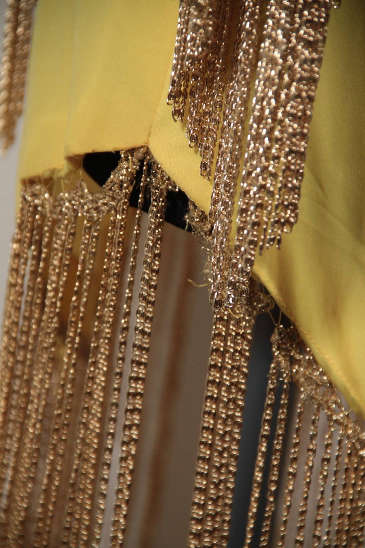 LORIS AZZARO Vintage 70s Yellow CAPE TOP & SKIRT SET Dress Long CHAIN FRINGES 8