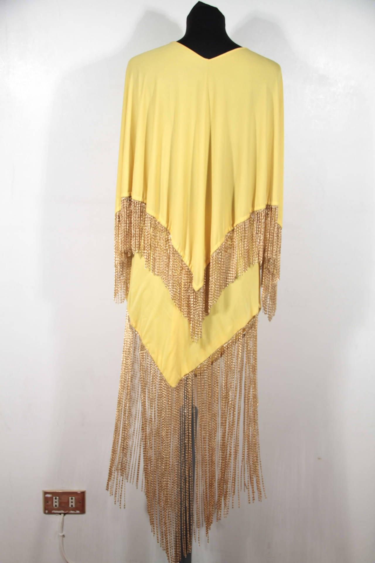 LORIS AZZARO Vintage 70s Yellow CAPE TOP & SKIRT SET Dress Long CHAIN FRINGES 4