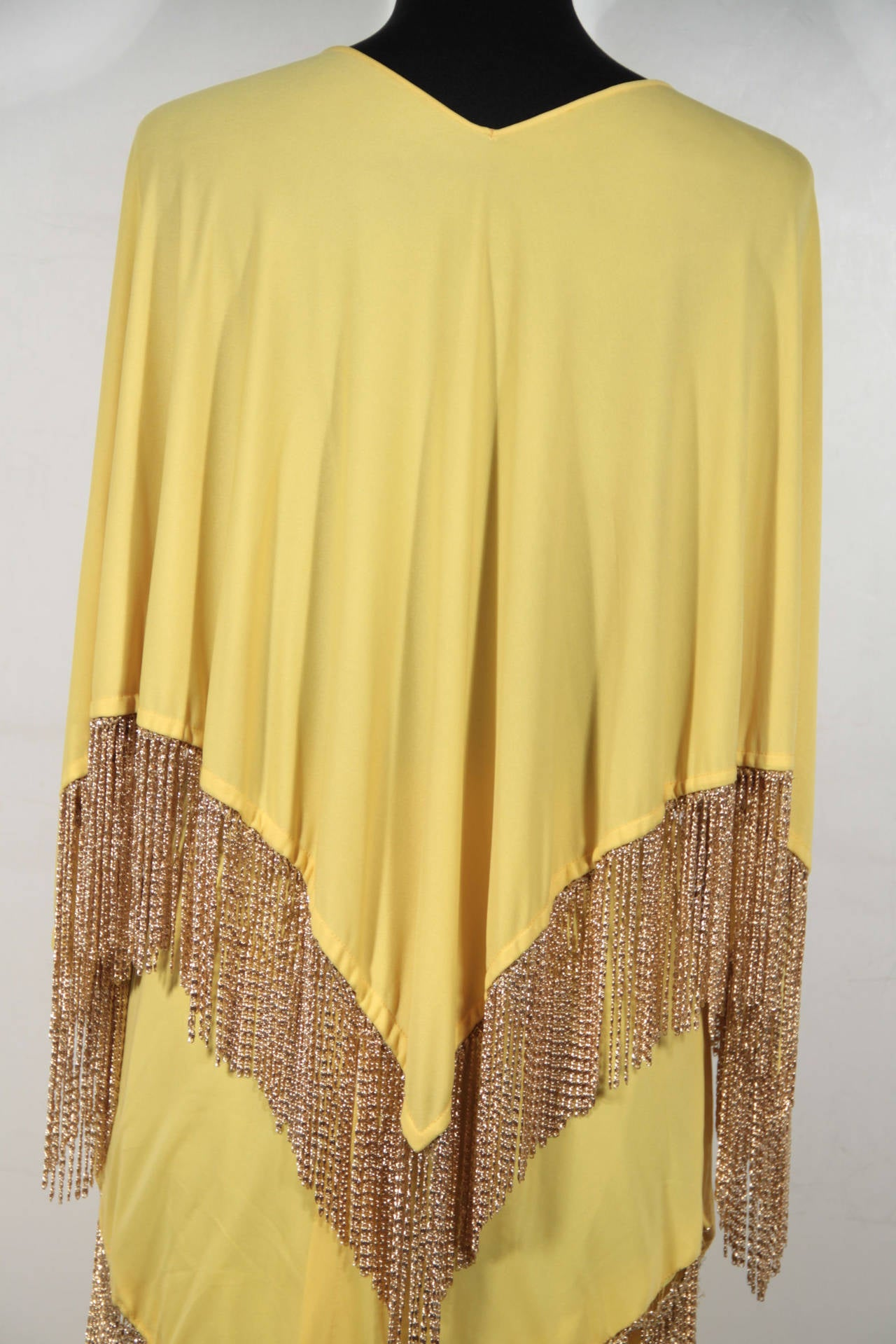 LORIS AZZARO Vintage 70s Yellow CAPE TOP & SKIRT SET Dress Long CHAIN FRINGES 5