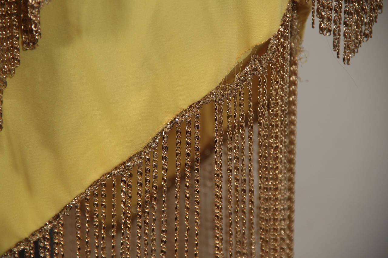 LORIS AZZARO Vintage 70s Yellow CAPE TOP & SKIRT SET Dress Long CHAIN FRINGES 7