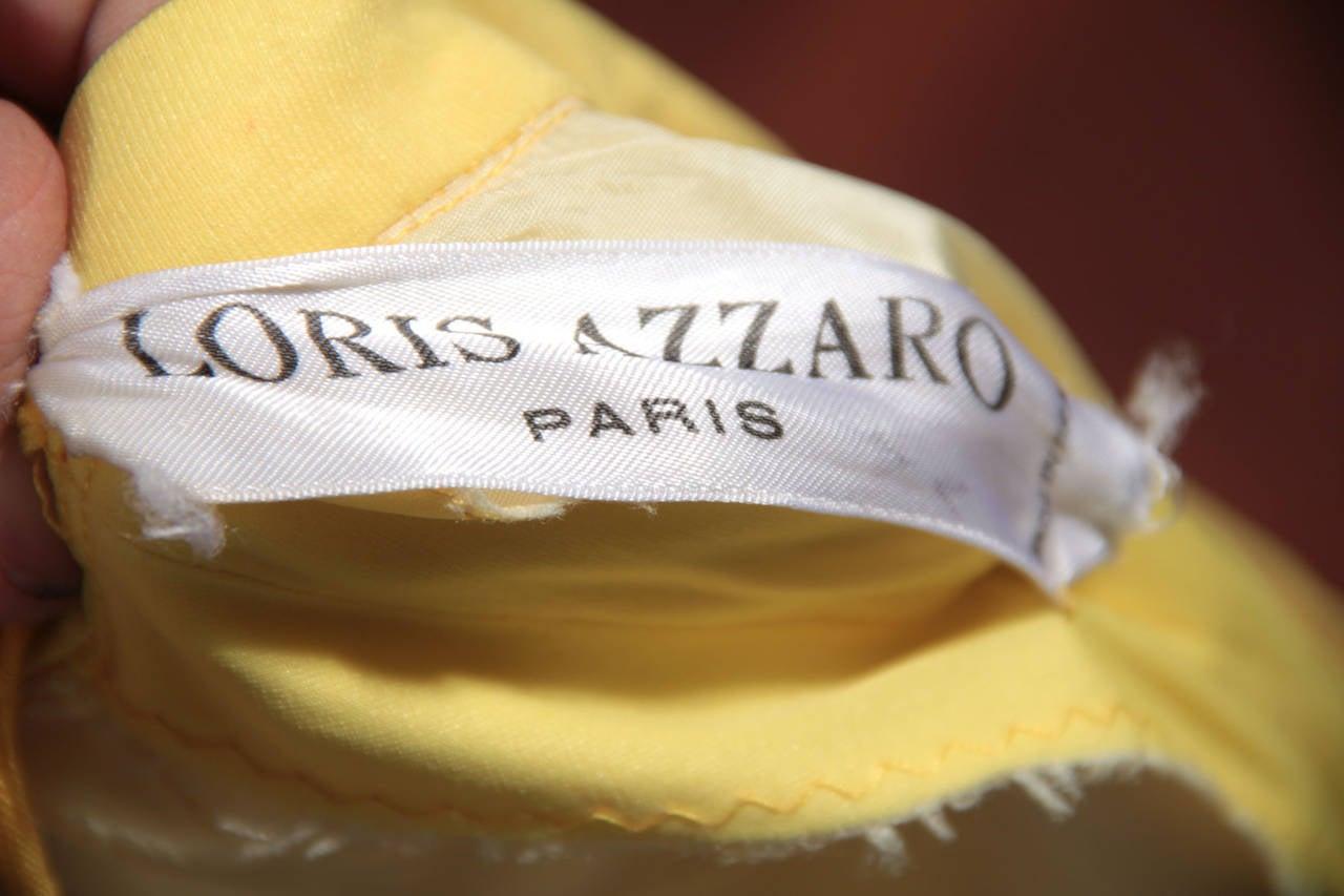 LORIS AZZARO Vintage 70s Yellow CAPE TOP & SKIRT SET Dress Long CHAIN FRINGES 10