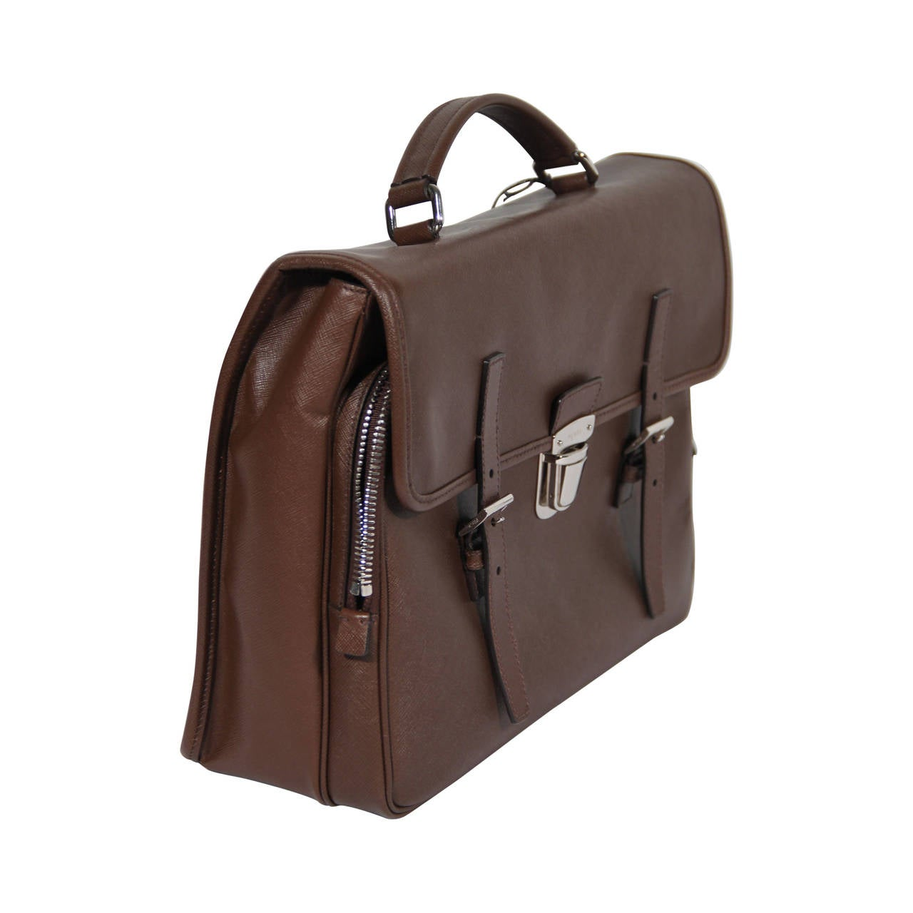 PRADA Authentic Brown SAFFIANO Leather Cartella BRIEFCASE Satchel ...
