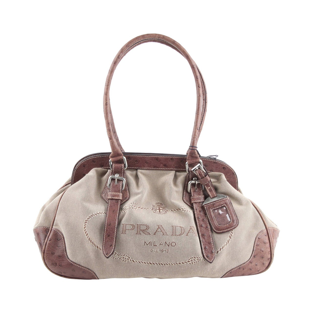 black high top pradas - PRADA Beige JACQUARD LOGO Fabric HANDBAG Doctor Bag w/ OSTRICH ...