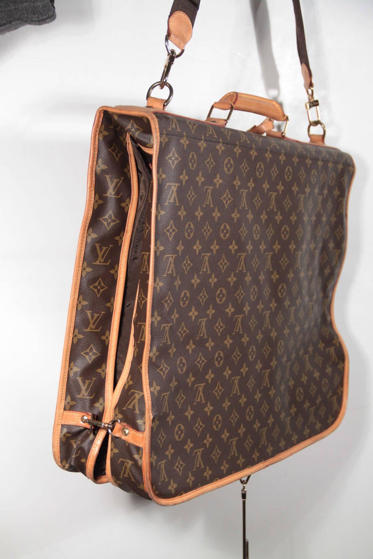 Black Louis Vuitton Monogram Canvas Garment Carrier Bag Travel Suit Cover 2 Hangers For