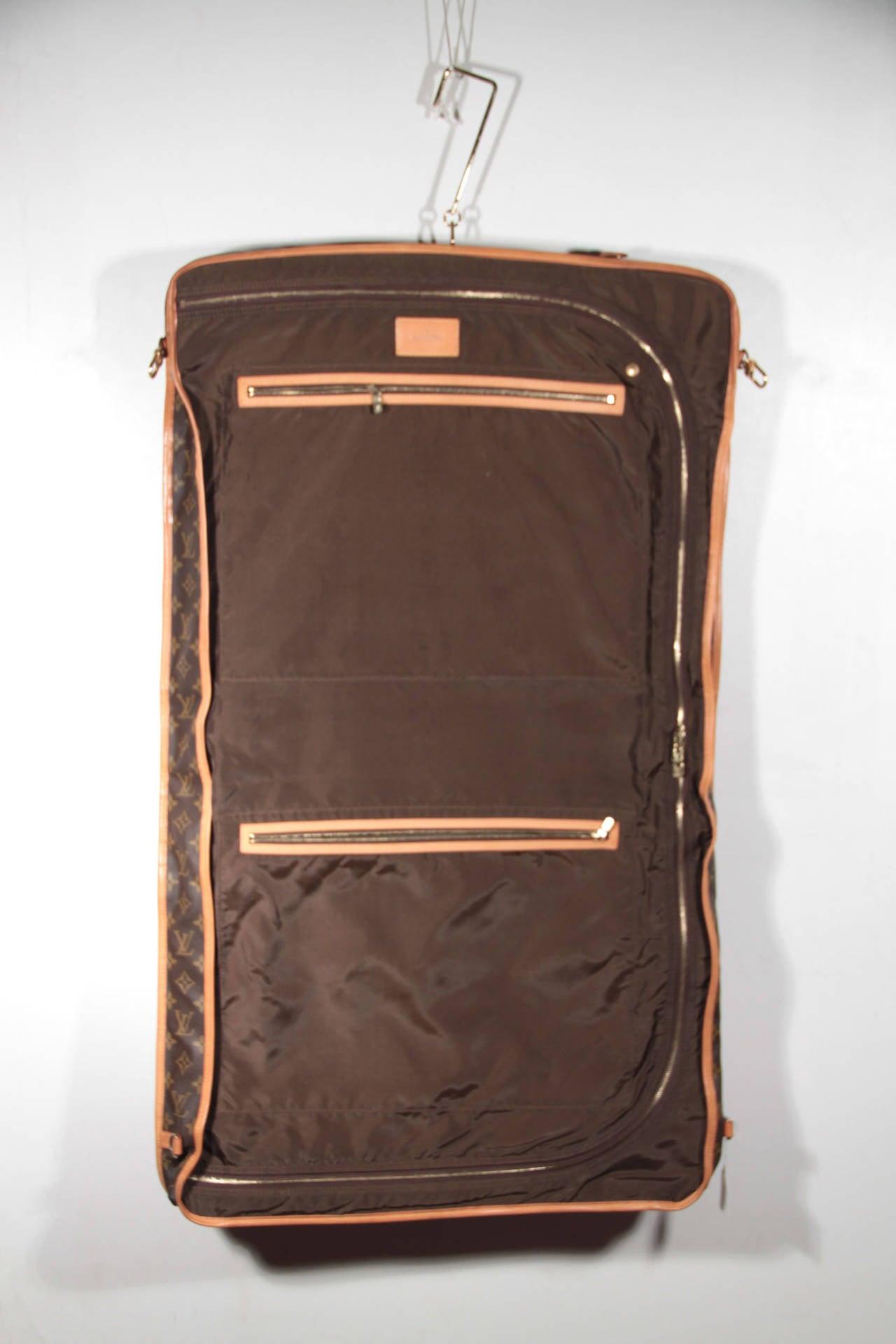 louis vuitton monogram canvas garment carrier bag travel suit cover 2 hangers for sale at 1stdibs