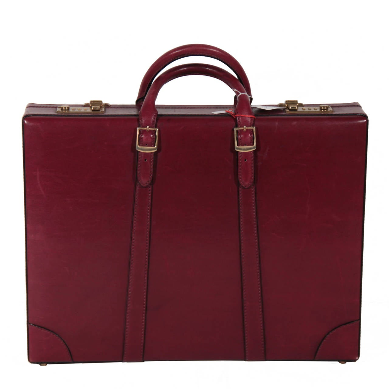 GUCCI Italian VINTAGE Burgundy Leather HARD SIDE BRIEFCASE Work Bag HANDBAG For Sale