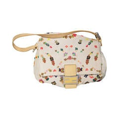 FENDI Beaded Linen Canvas & Snakeskin MAMA BAG Shoulder Bag w/ BOX RARE