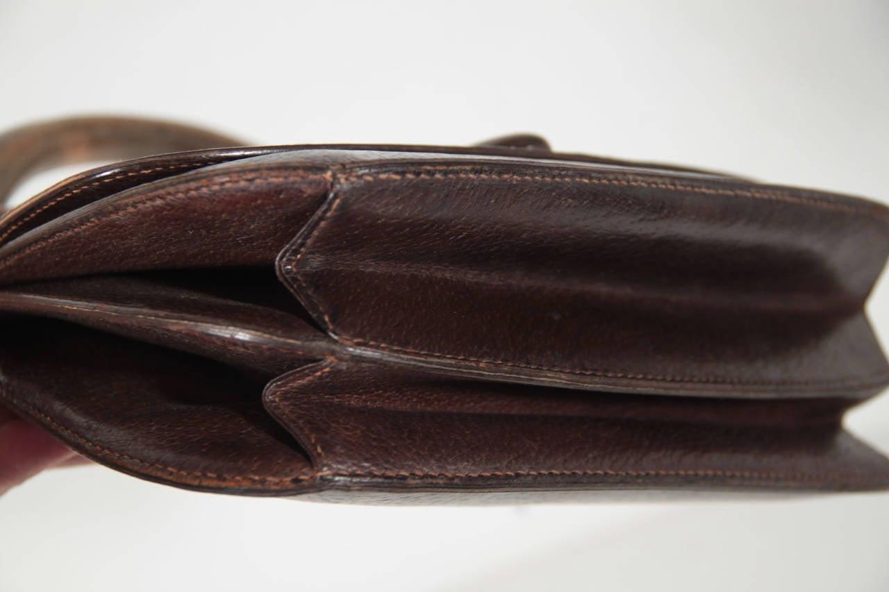 gucci vintage 60s brown leather handbag top wood handle bag wood rare as at 1stdibs