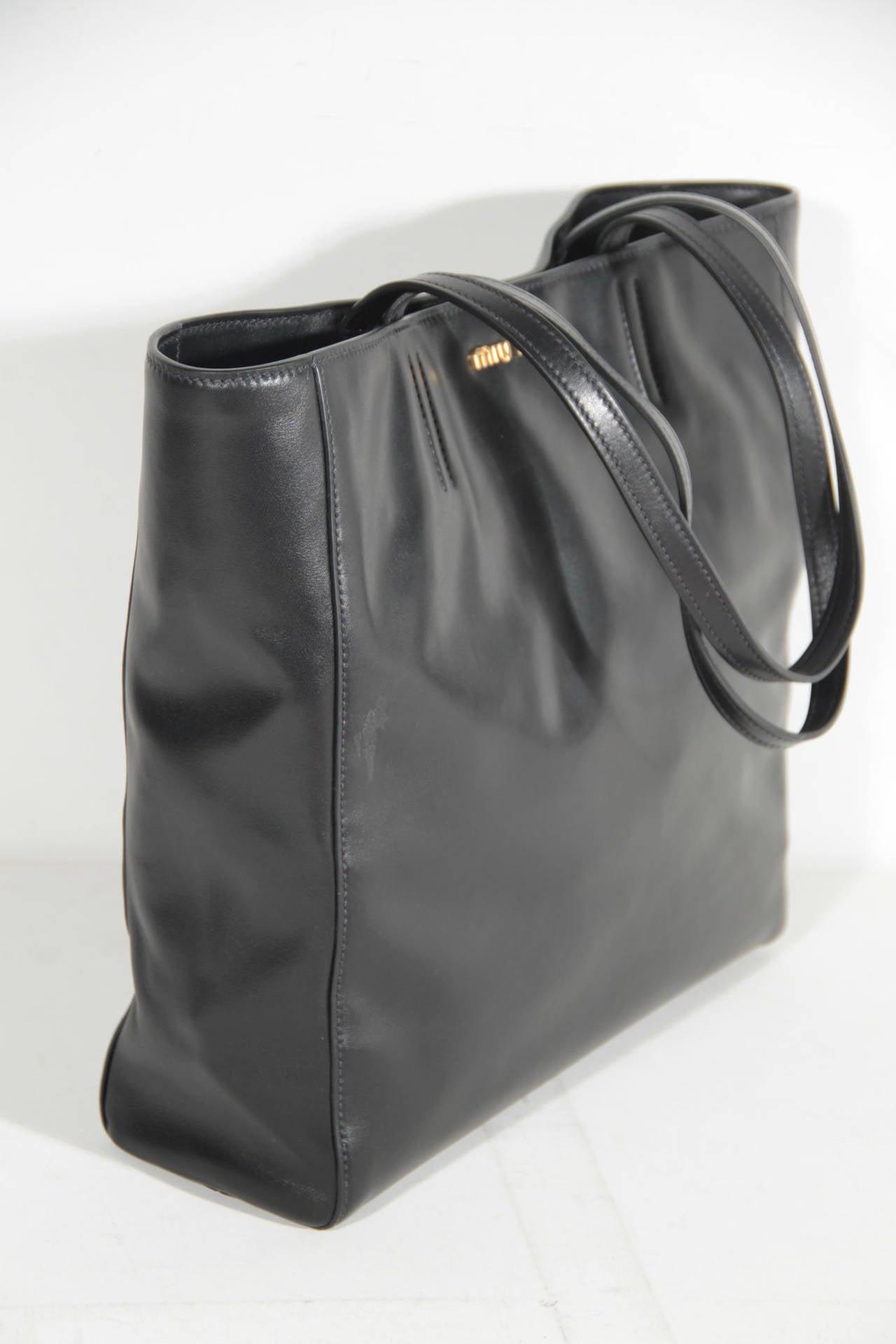 MIU MIU PRADA Black SOFT CALF Leather SHOPPING BAG Tote HANDBAG ...