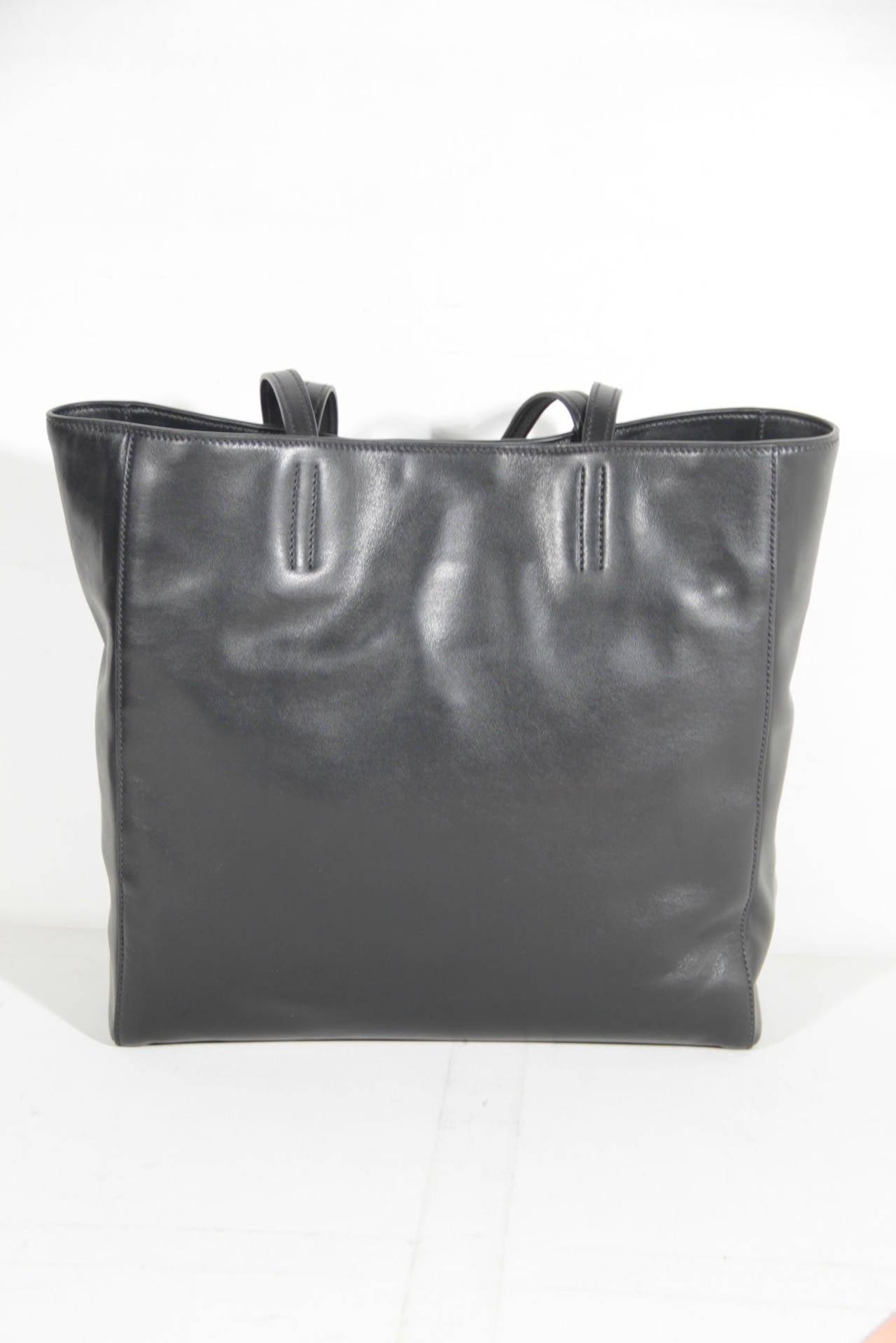 f3f50df72362 Gray MIU MIU PRADA Black SOFT CALF Leather SHOPPING BAG Tote HANDBAG R1914S  For Sale