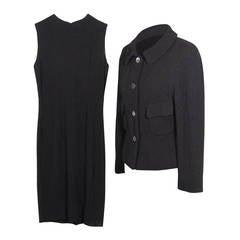 GUCCI Italian Black Nylon & Wool SHIFT DRESS & BLAZER Dress Suit SIZE 42 IT