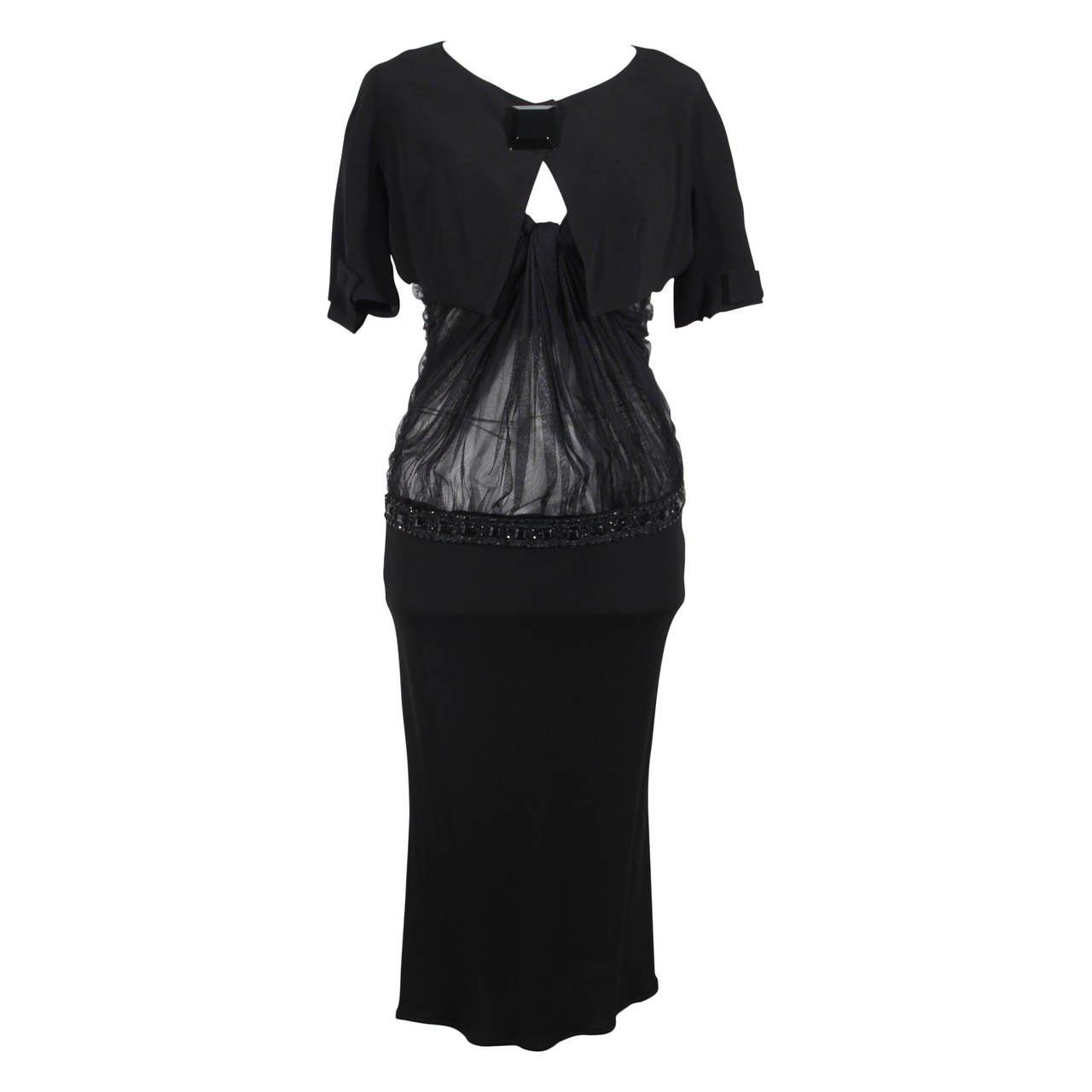 BLUMARINE ANNA MOLINARI Black Jeweled EVENING DRESS w/ Cropped JACKET FF