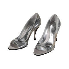 SERGIO ROSSI Italian Silver metal SEQUIN PUMPS Shoes OPEN TOE PUMPS Sz 37 FF