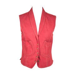HERMES PARIS Red Denim HORSESHOE VEST Gilet WAISTCOAT Size 38 FR RARE