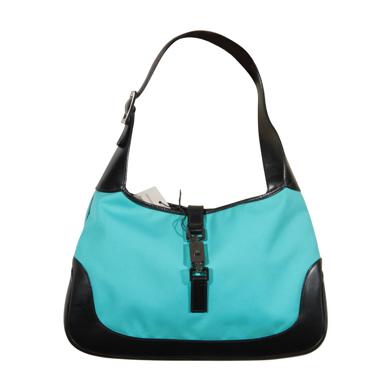 GUCCI Azure Canvas and Black Canvas HOBO JACKIE O Tote Purse ...