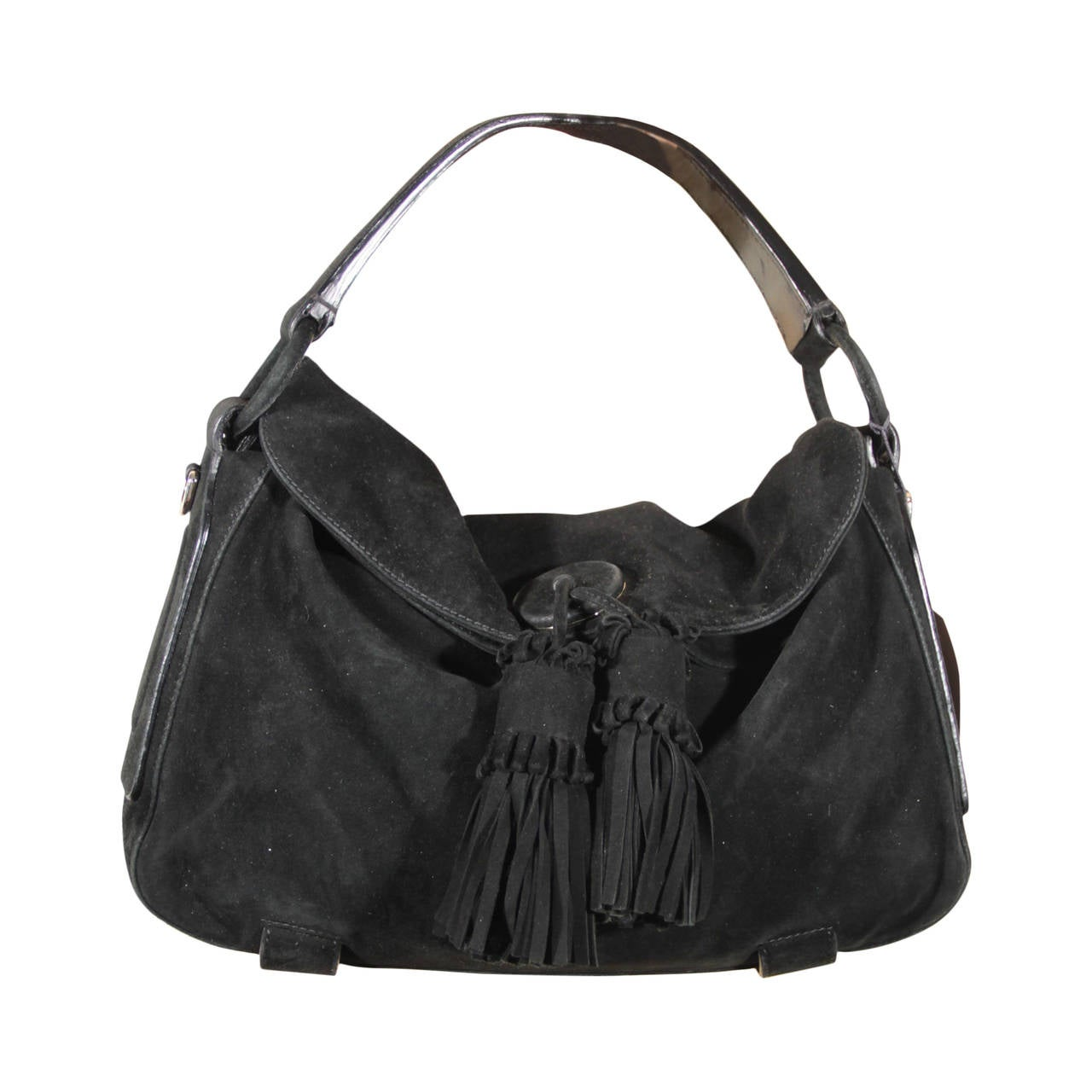 Yves Saint Laurent Black Suede Shoulder Bag Tote Hobo W
