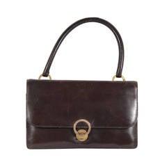 HERMES PARIS Vintage Brown Leather RING BAG Flap Purse HANDBAG