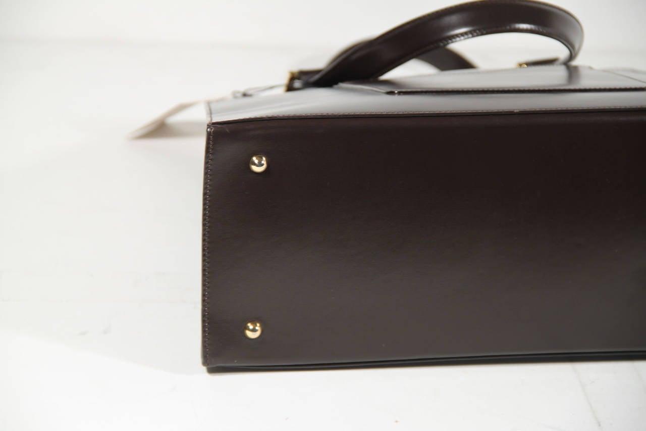 YVES SAINT LAURENT Vintage Brown Leather SATCHEL Handbag TOTE w ...