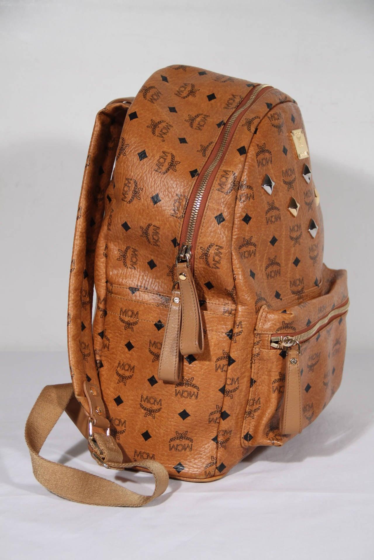 mcm munchen tan cognac visetos canvas stark backpack shoulder bag for sale at 1stdibs. Black Bedroom Furniture Sets. Home Design Ideas