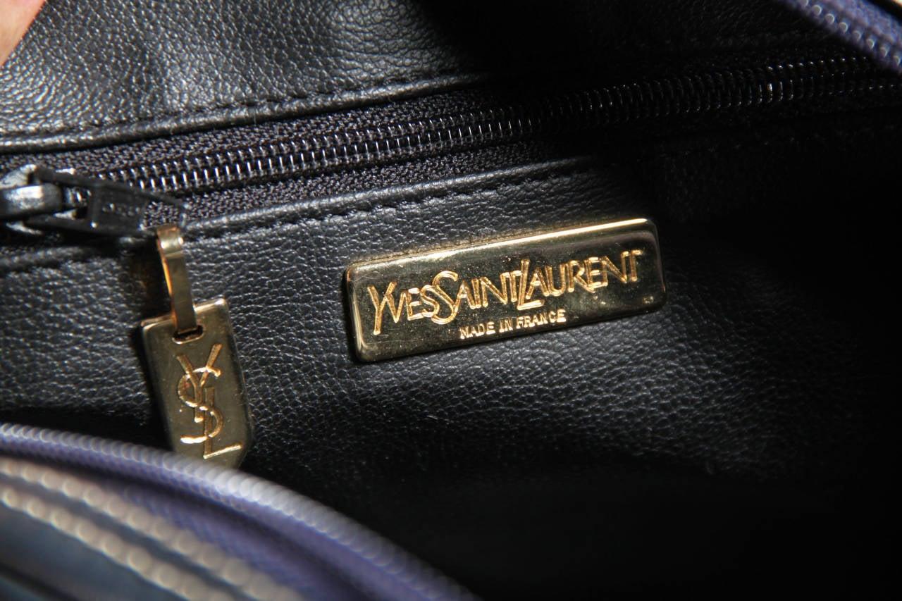 YVES SAINT LAURENT Blue Leather CUT-OUT Y SHOULDER BAG Messenger ...
