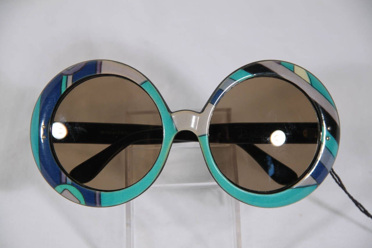 EMILIO PUCCI Vintage Blue OVERSIZED Round SUNGLASSES Signature Print 6