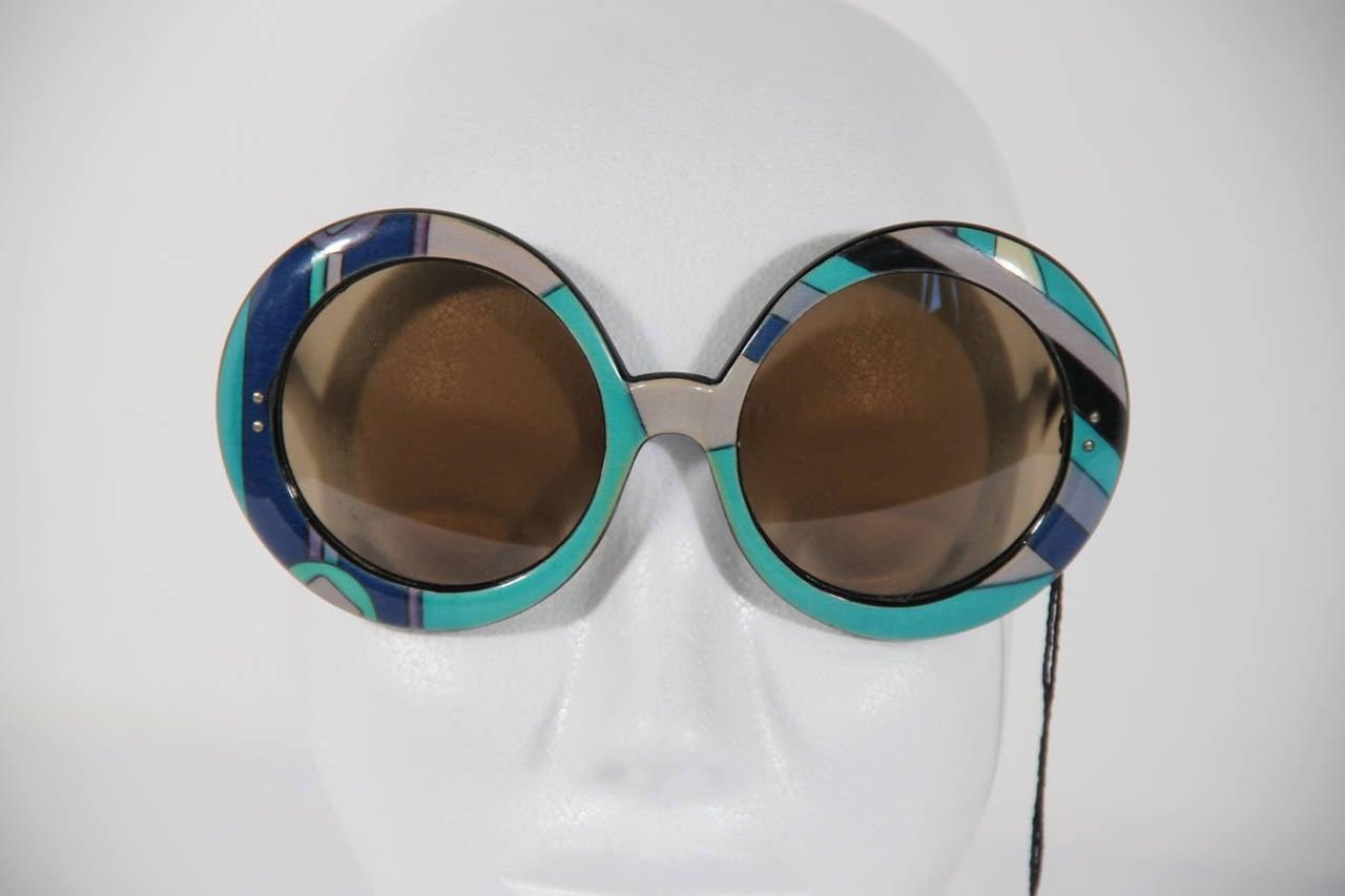 EMILIO PUCCI Vintage Blue OVERSIZED Round SUNGLASSES Signature Print 7