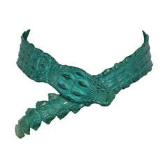 Auth ROBERTO CAVALLI Emerald Green CROCODILE Leather WRAP BELT Size S