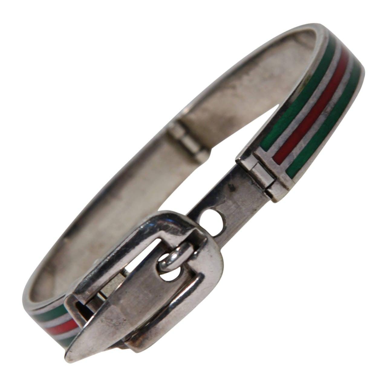 b9ebd4b578f02 Auth GUCCI VINTAGE Sterling Silver 925 & Enamel Stripes BELT BRACELET Bangle