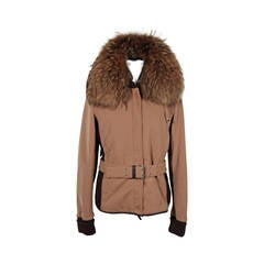 PRADA Tan  BELTED ZIP JACKET Fur Collar SZ 44 IT SC
