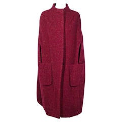 DRIES VAN NOTEN Red\Purple Wool Blend CAPE Coat SIZE XS