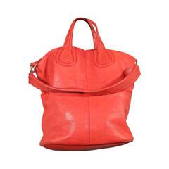 GIVENCHY Red Orange Leather NIGHTINGALE TOTE Large HANDBAG
