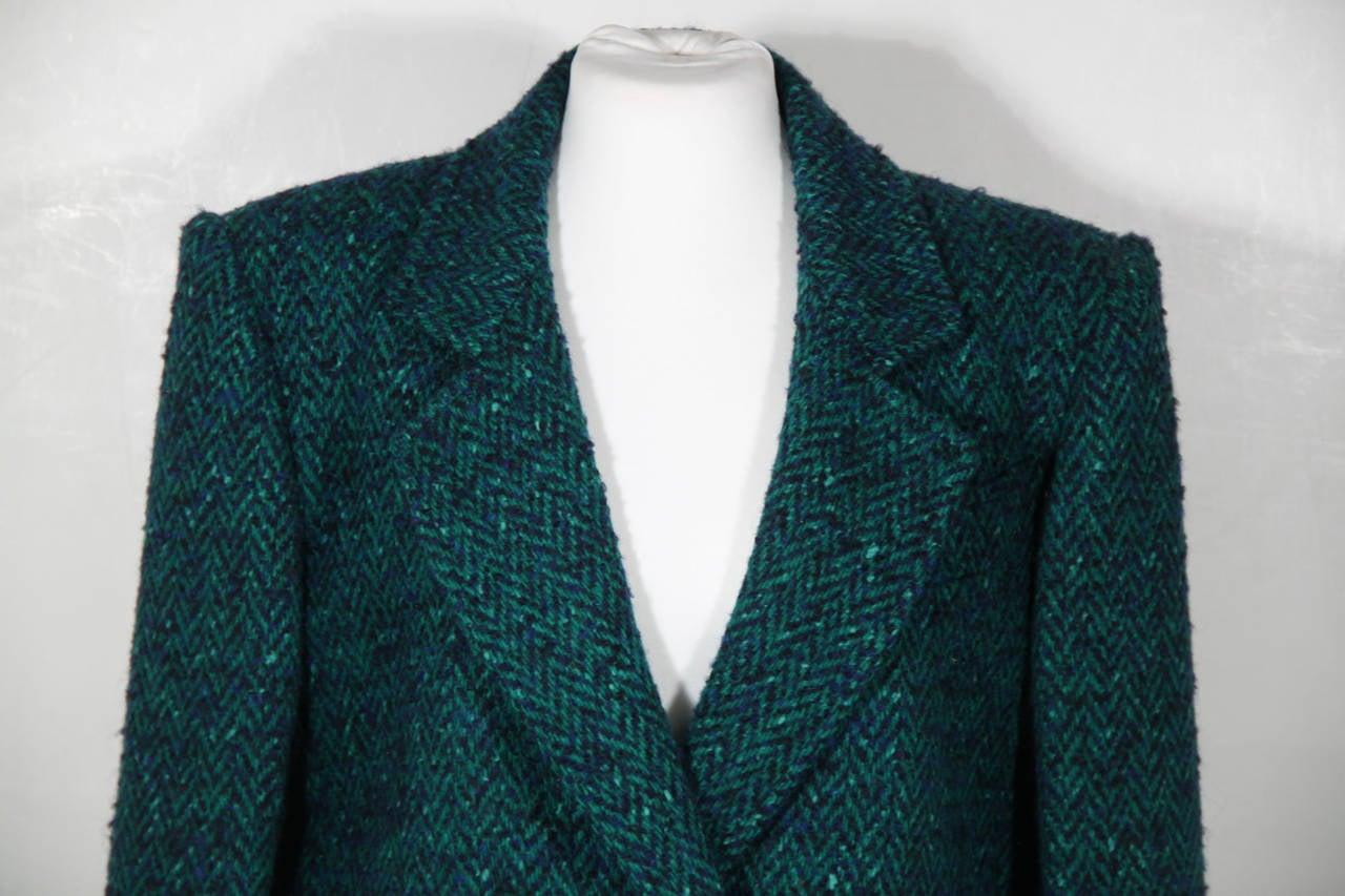 ANDREA ODICINI Italian VINTAGE Green Tweed SUIT Coat & Skirt SET Sz 40 IT For Sale 1