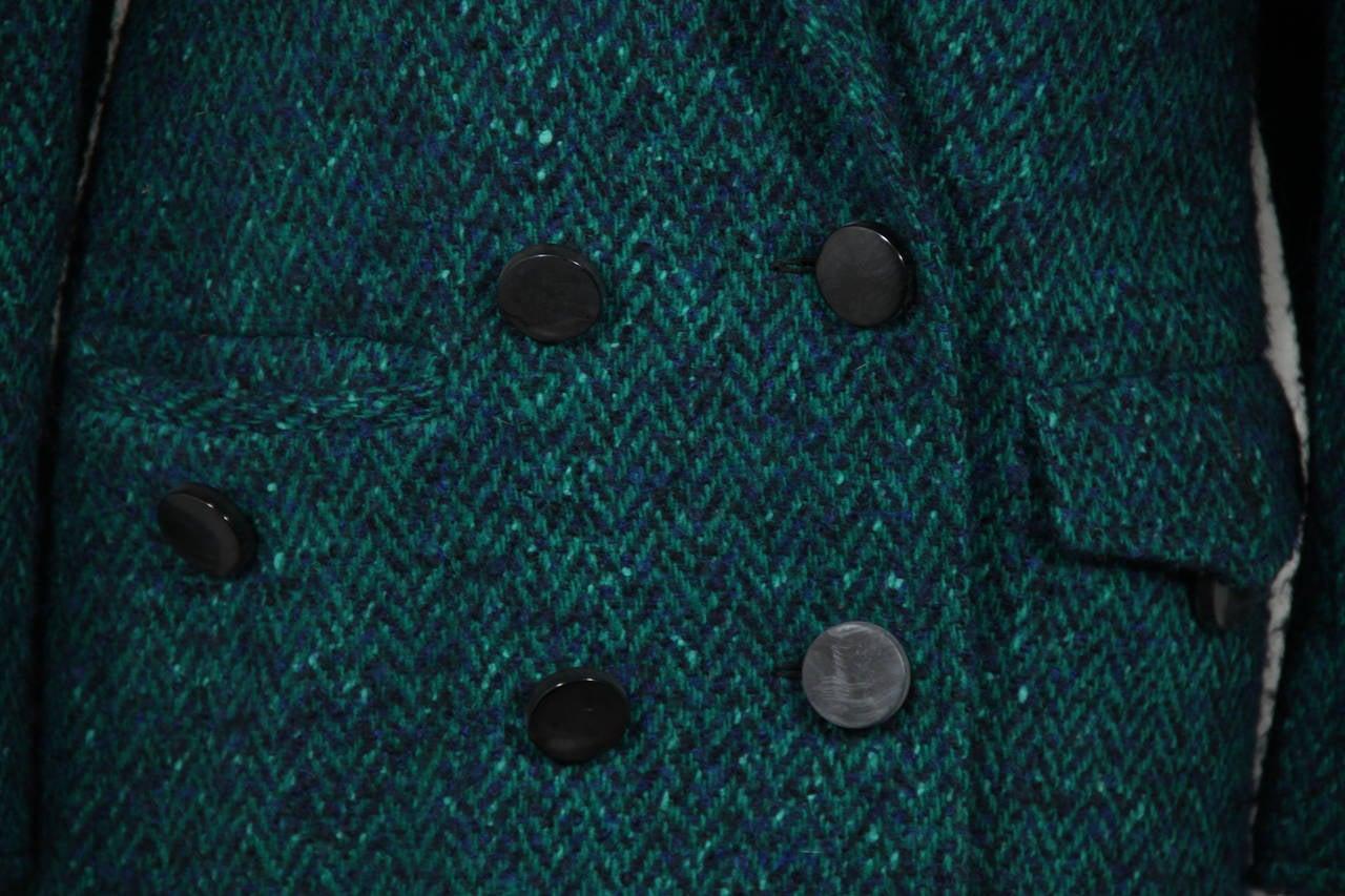 ANDREA ODICINI Italian VINTAGE Green Tweed SUIT Coat & Skirt SET Sz 40 IT For Sale 4