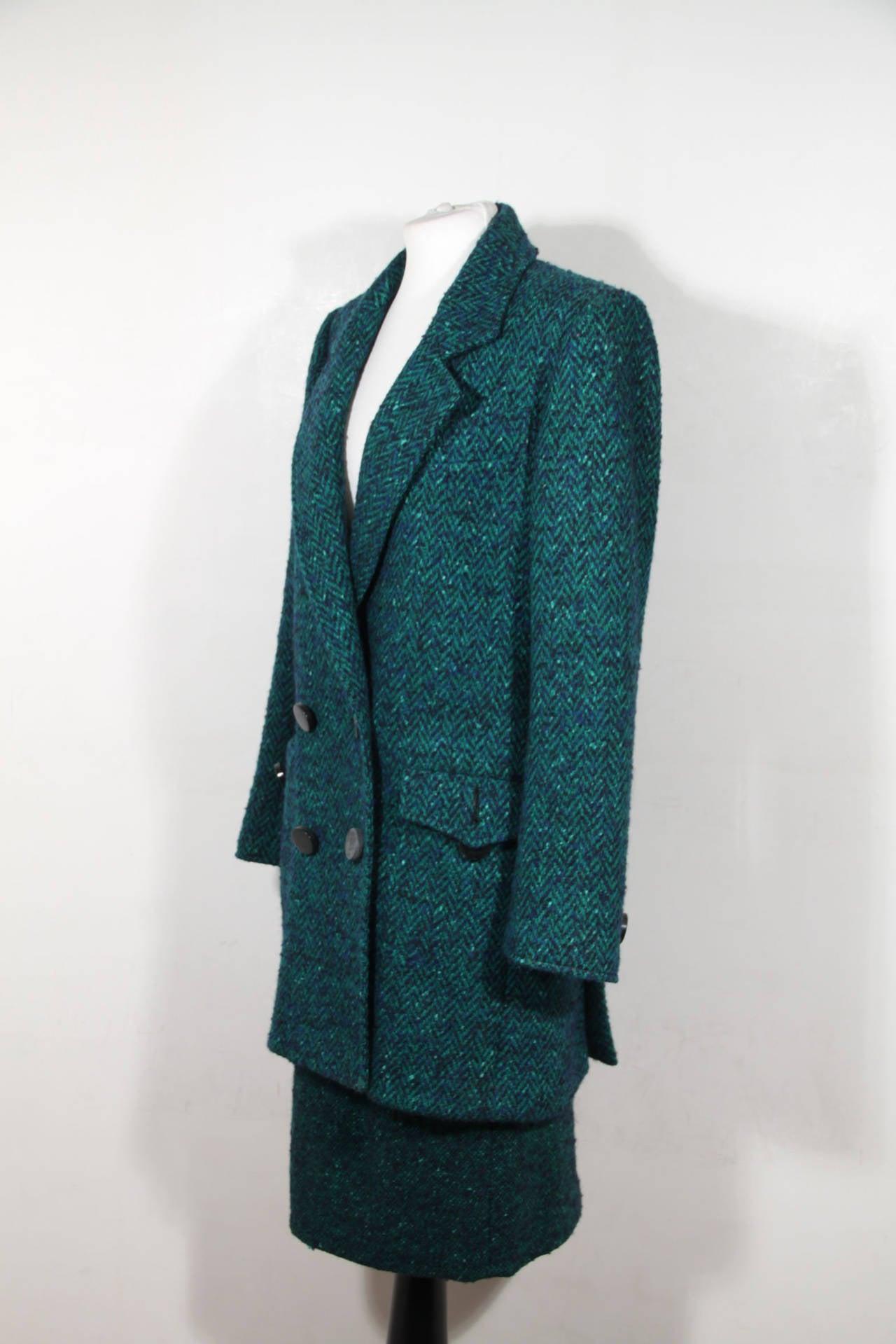 Black ANDREA ODICINI Italian VINTAGE Green Tweed SUIT Coat & Skirt SET Sz 40 IT For Sale